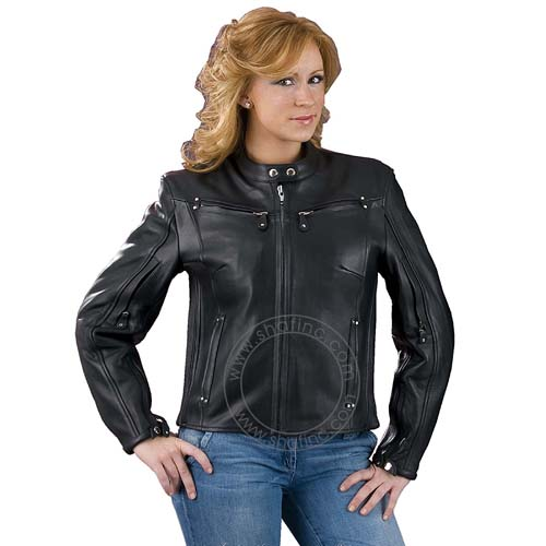 Women's Vented Leather Scooter Jacket, ML-2002N