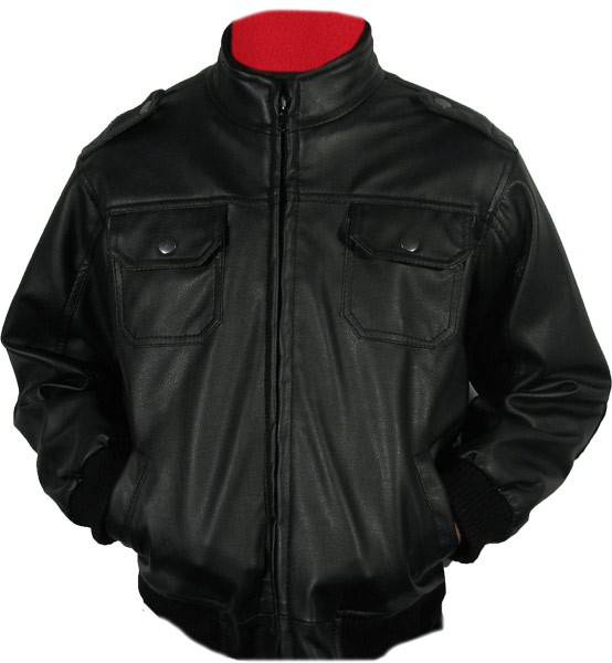 Childrens Leather-Look, Euro-Collar Motorcycle Jacket, KJ2335