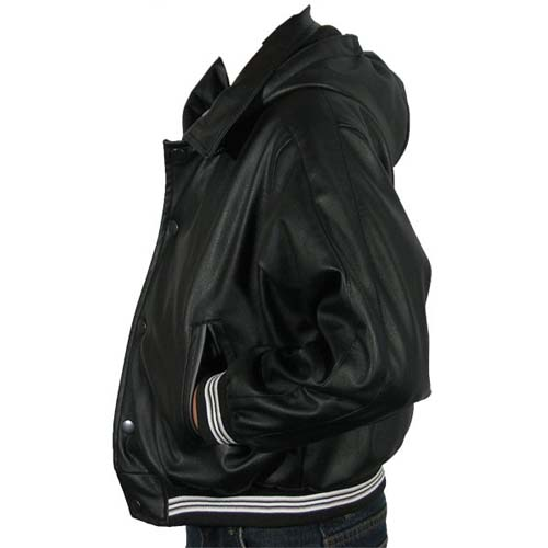 Childrens Leather-Look, Bomber-style jacket with removable hood, KJ2336
