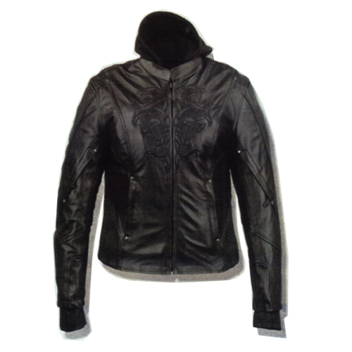 Ladies Black Embroidered Leather Jacket, ML2066BK