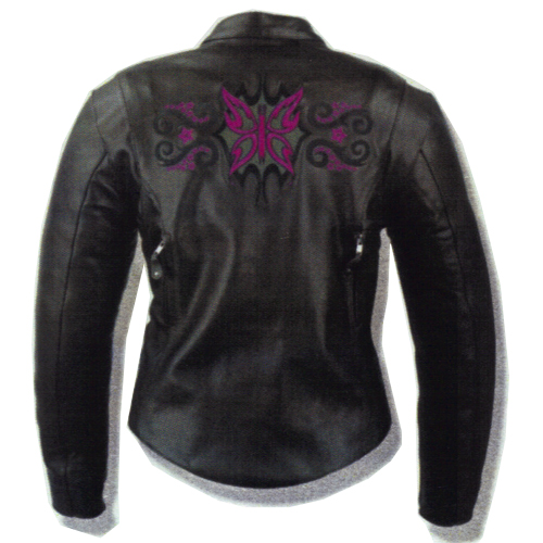 Ladies Black & Purple Stars Embroidered Leather Jacket, ML2071