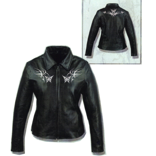 Ladies Pink Butterfly Embroidered Leather Jacket, ML2093.06